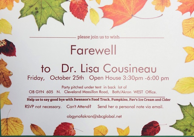 farewell to dr. lisa cousineau event flyer