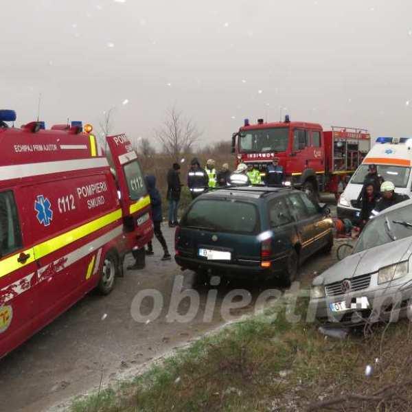Accident rutier pe DJ201 (Slobozia - Ciulnița). Victime încarcerate
