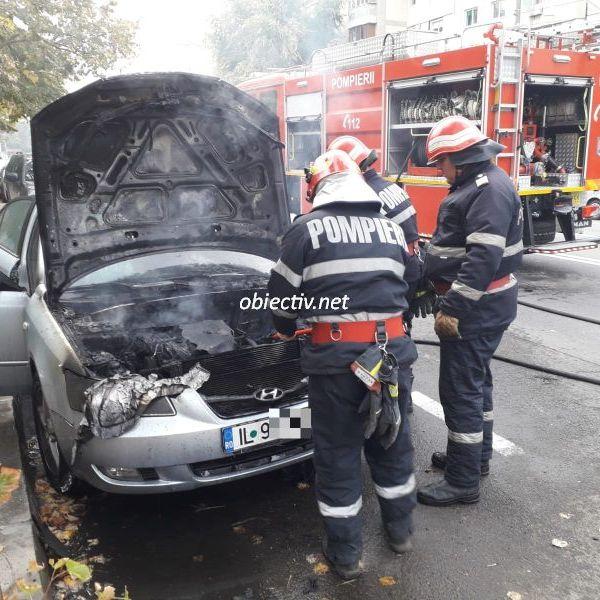 Slobozia: Autoturism în flăcări. Foto & Video
