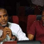 Drama In Court As Nnamdi Kanu Refuses To Takeoff Handcuffs (Photo)
