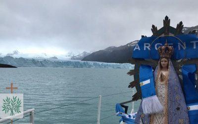 Santa Cruz | La Imagen Peregrina de la Paz de Ntra. Sra. de Luján visitó el Glaciar Perito Moreno