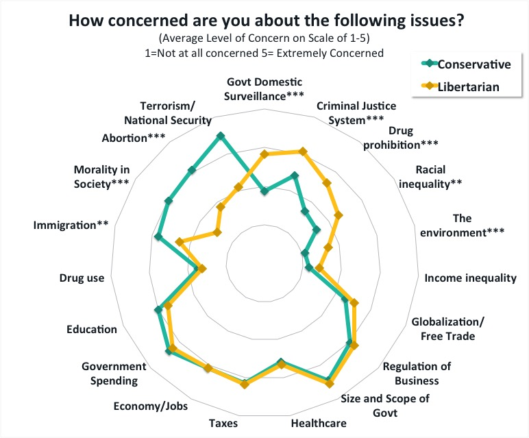 Note: This chart displays the mean level of concern (on a scale of 1-5) across 19 different issues for both conservative and libertarian millennials who attended the Libertarianism v. Conservatism intern debate at the Cato Institute. Moving from the inner to the outer circles indicates an increasing level of concern for each respective issue. Results from statistical tests are shown which indicate if conservatives and libertarians significantly differed in their concern for the issue *** p<.001 ** p < .01 * p < .05.