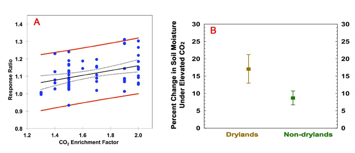 Figure 1. (Panel A) Sensitivity of the soil water response ratio to CO2 enrichment for the entire data set, calculated as the soil water content under elevated CO2 divided by the soil water content under ambient CO2. The closed circles are the observations, with the solid black line providing a linear regression. The red lines represent the 95% confidence intervals of the observations and the dashed grey lines represent the 95% confidence interval of the model. (Panel B) Enhancement of soil water content under elevated CO2 for dryland versus non-dryland regimes. Adapted from Lu et al. (2016).