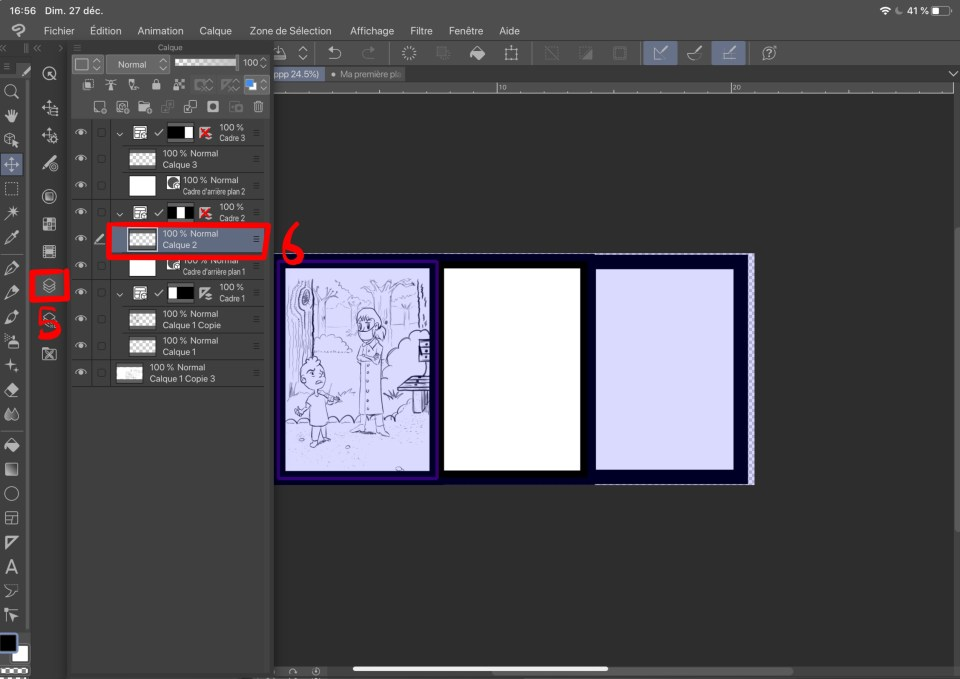 Copie de calque sous clip studio paint 3