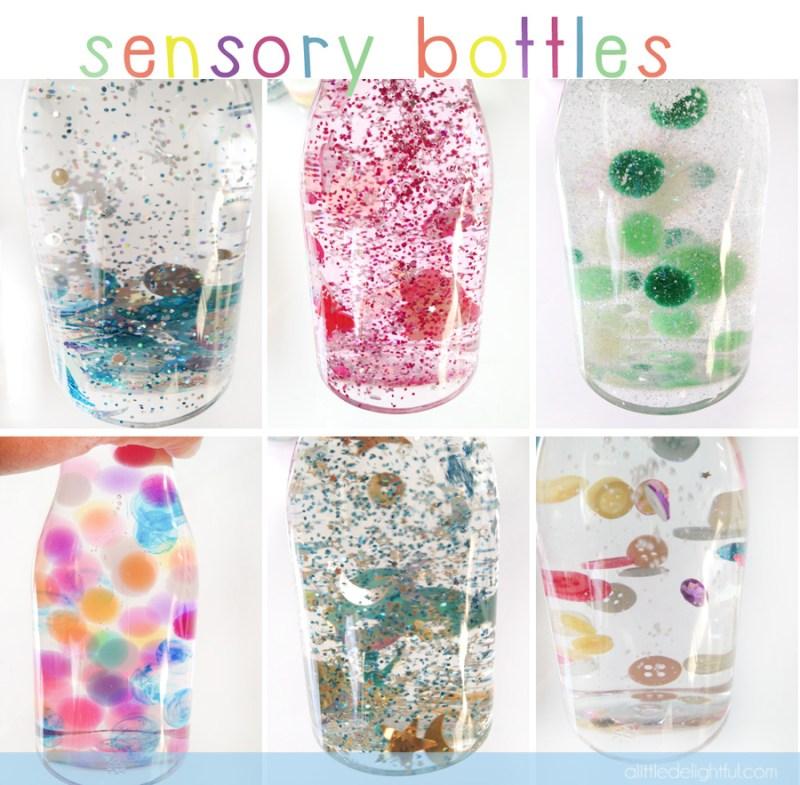 Bouteilles sensorielles avec les perles d'eau
