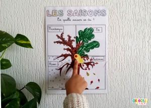 coloriage, affichage arbre saisons