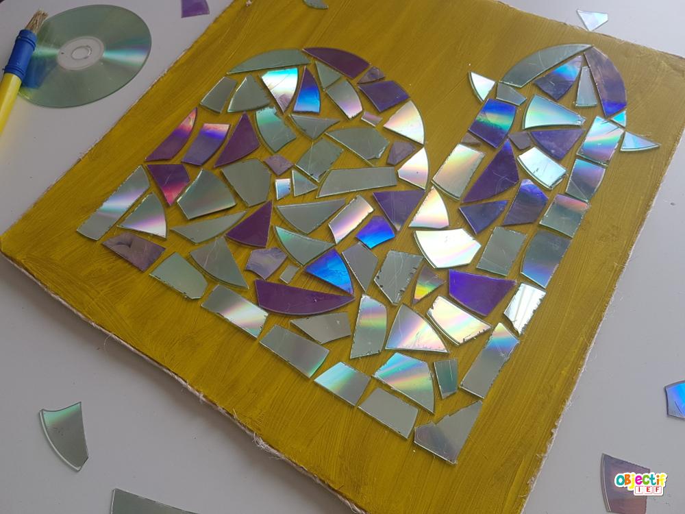 mosaïque de CD activité enfant écolo récup zéro déchet objectif ief