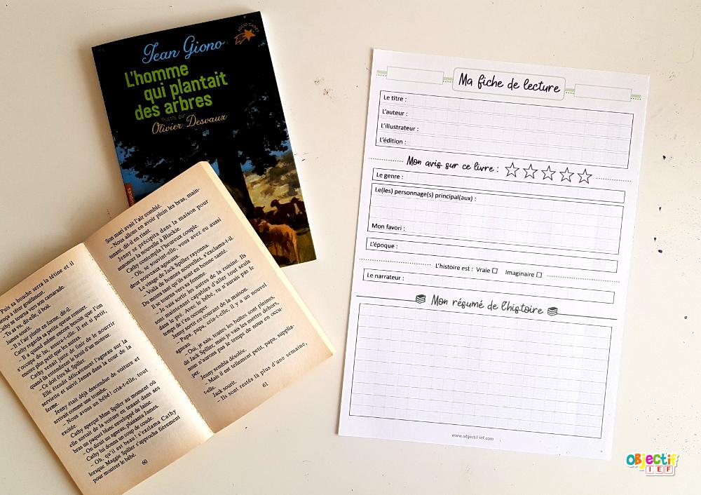 Fiche de lecture d'oeuvres littéraires CE2 - CM1 - CM2 ...