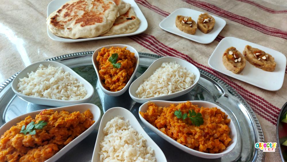 Inde tour du monde IEF recette de cuisine dhal naan halwa instruction en famille école à la maison projet ief