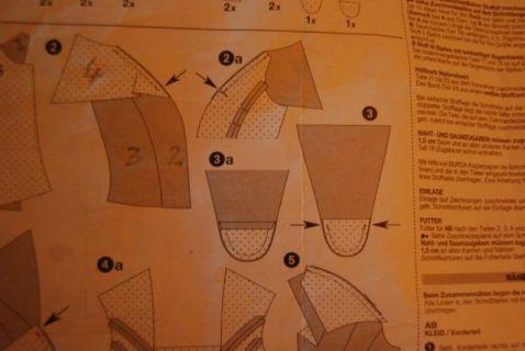 La petite pièce 5 est cousue sur l'avant à l'enver, puis retournée