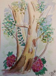peindre un arbre à l'aquarelle