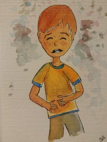 enfant mal au ventre dessin aquarelle