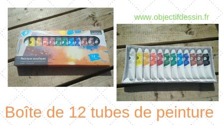 12 tubes de peinture acrylique
