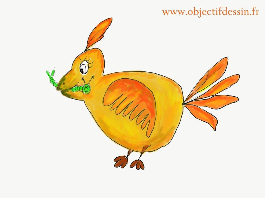 dessin oiseau tablette