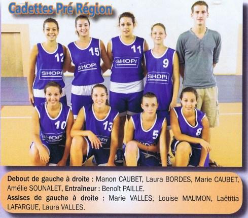 2010-2011 Cadettes PrÇrÇgion