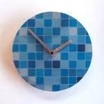 blue mosaic clock