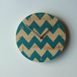 chevron clock light blue
