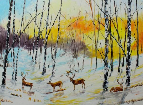 Landscape Oil Paintings Winter Deer- Sold Prints Kevin Brown