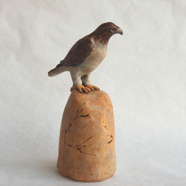 """Sculpture """"hawk Perched Rock 10"""" Original Art"""