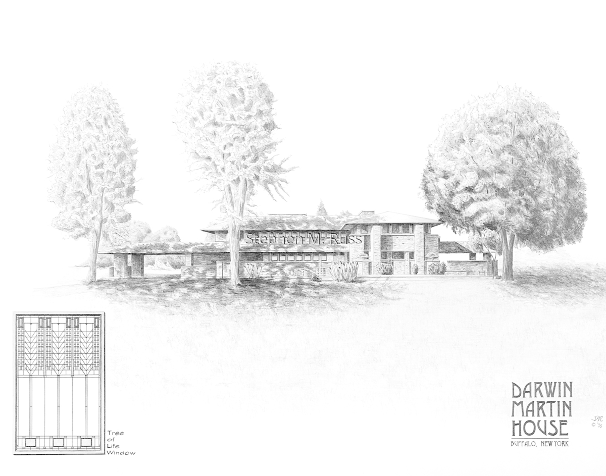 Architecture Paper Drawings: Darwin Martin House by