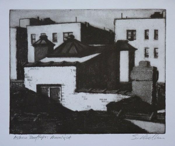 """Printmaking """"astoria Rooftops Moonlight"""" Original Art"""