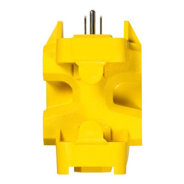 The Yellow Jacket 5 Outlet Adapter comes with two cord locks that keep the cords in place. It is a 125V -15A rated 3-prong grounded outlet adaptor and is extremely powerful and durable. The adapter outlets may be used with large transformers or standard sized plugs, UL Listed. A single outlet is converted into 5 grounded outlets with this outlet adapter. The Yellow Jacket 5 Outlet Adapter is ideal for outdoor/indoor use.