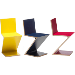Yellow Office Chair Rattan Wicker Rocking Cushion Designapplause | Zig-zag. Gerrit Thomas Rietveld.