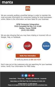 Manta Email Scam