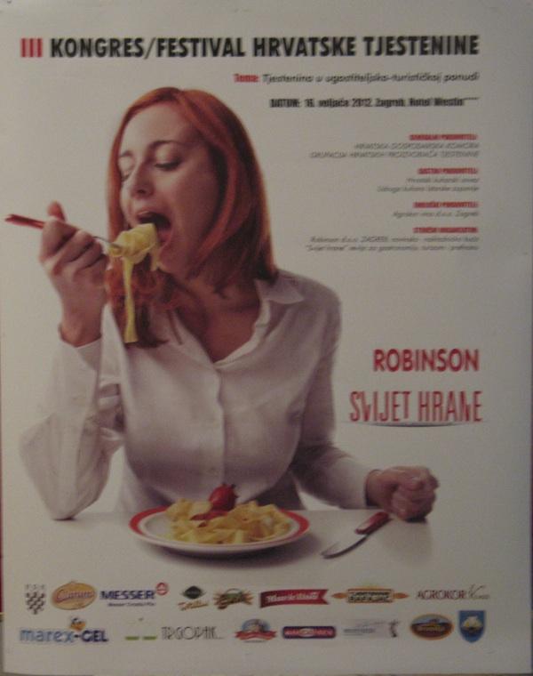 Plakat za kongres / festival domaćih tjesteničara, kojem su pšrisustvoali i kuhari, ugostitelji, hotelijeri, nutricionisti, trgovci...