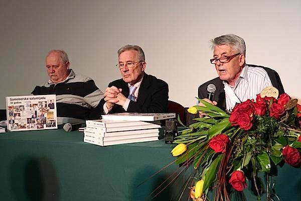 Trojica promotora monografije Samoborska salamijada - 30 godina (Fotografija Miljenko Brezak / Oblizeki)