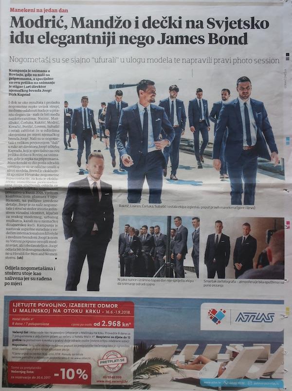 I oglas i novinski tekst ujednom od dnevnika o službenim odijelima hrvatske nogometne reprezentacije