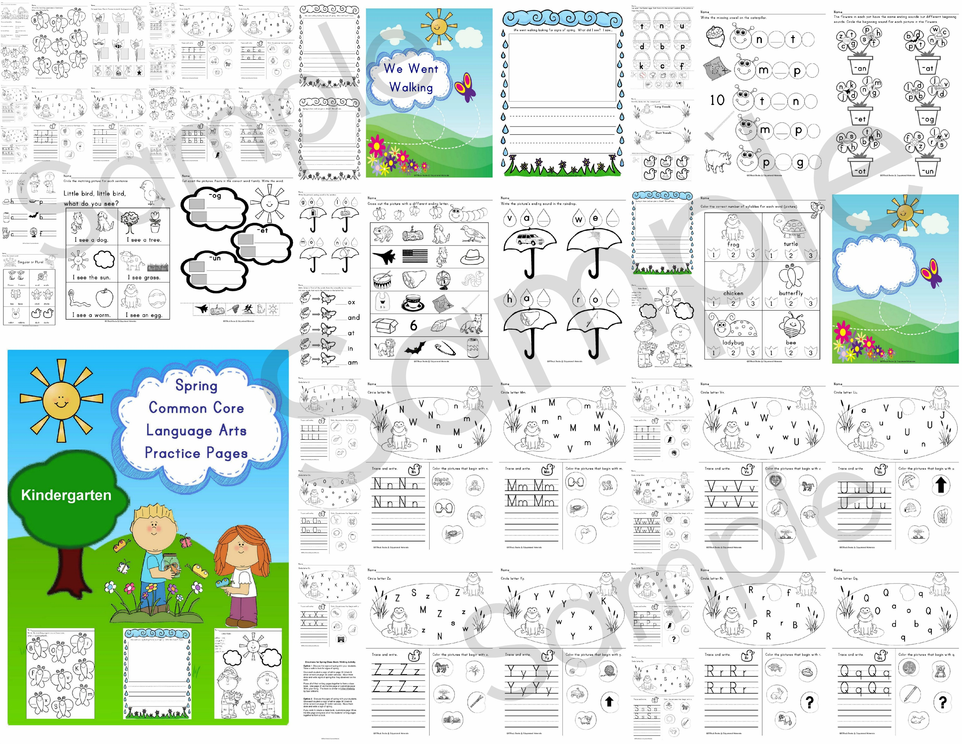 Spring Kindergarten Common Core Language Arts Literacy Practice Pages