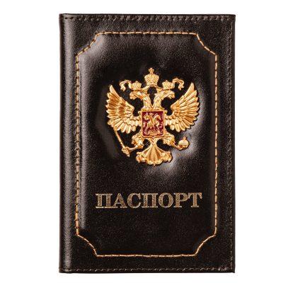 Обложка для паспорта с металлической вставкой Герб РФ