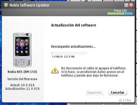 El proceso de actualización de firmware de un Nokia N95