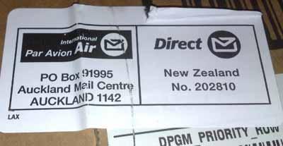 El paquete ha sido enviado desde Nueva Zelanda