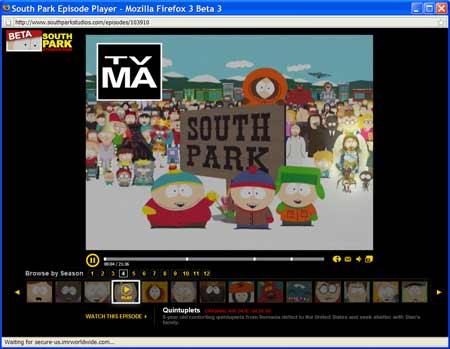 Captura de pantalla de un episodio de South Park en la web del programa