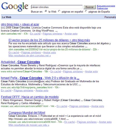 Los resultados de la búsqueda \'césar córcoles\' en google.es