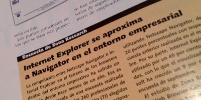 Internet Explorer se aproxima a Navigator en el entorno empresarial