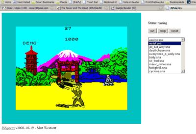 Un emulador de Spectrum corriendo en el navegador