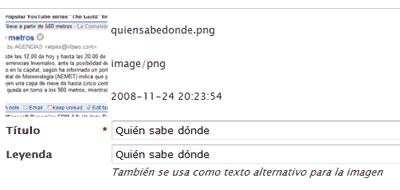 La interfaz de WordPress avisa que usará el mismo texto para la 'leyenda' de la imagen