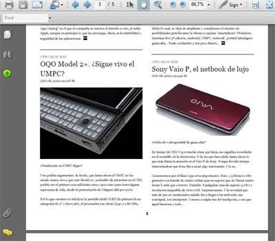 El RSS de Otro blog más convertido en PDF con Tabbloid