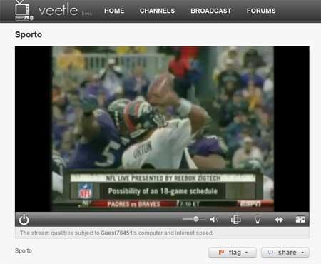 Captura de pantalla del canal estadounidense de deportes ESPN en la web de Veetle
