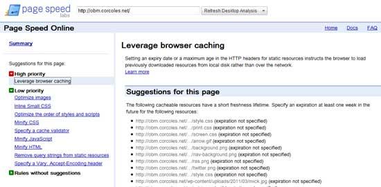 Captura de pantalla de las sugerencias de Google Page Speed Online para este blog