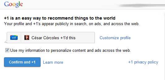 Captura de pantalla. La herramienta Google +1 pide permiso para usar mis recomendaciones en