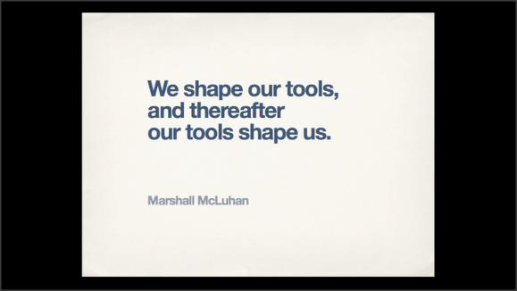 Captura de pantalla de la presentación. Cita de Marshall McLuhan. Sigue en el texto