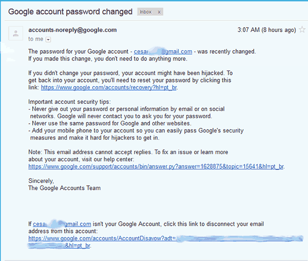 Captura de pantalla de una notificación por correo electrónico de cambio de contraseña en una cuenta de GMail
