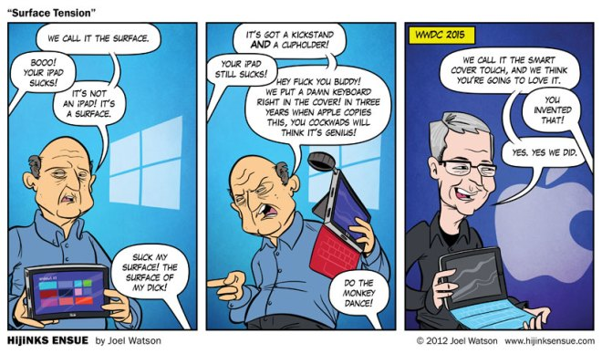 Tira cómica anticipando en 2012 que Apple lanzaría un producto similar al Surface de Microsoft en 2015