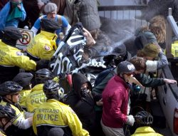 Protesters Pepper-Sprayed in Portland, March 2008. Click image to see larger version