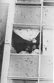 Shattered windows at Alexander Hall, Jackson State, May 14-15, 1970