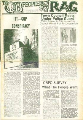 Mid-March 1972 issue of OB Rag with article on scandal that forced the cancellation of the GOP Convention in San Diego slated for that summer.